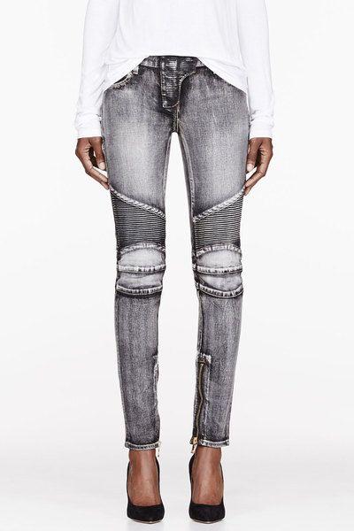 Balmain Black Black Faded + Ribbed Jeans