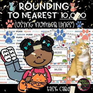 Rounding to nearest 10,000 (using Number lines) Task Cards  *** REMINDER: This set is also available in a Place Value HUGE Bundle! Here's the link: Place Value HUGE Bundle!  This is a colorful set of 24 task cards to practice rounding to nearest 10,000 using number lines. This set is a wonderful addition to your lessons!  I've included a recording sheet and answer key, too!