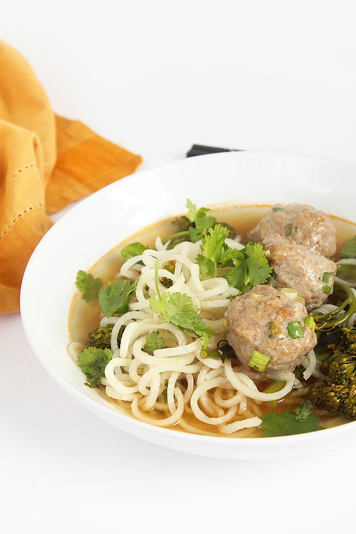 Daikon Noodles and Broccolini with Asian Pork Meatballs (sub cocontu aminos for Paleo/Whole30)
