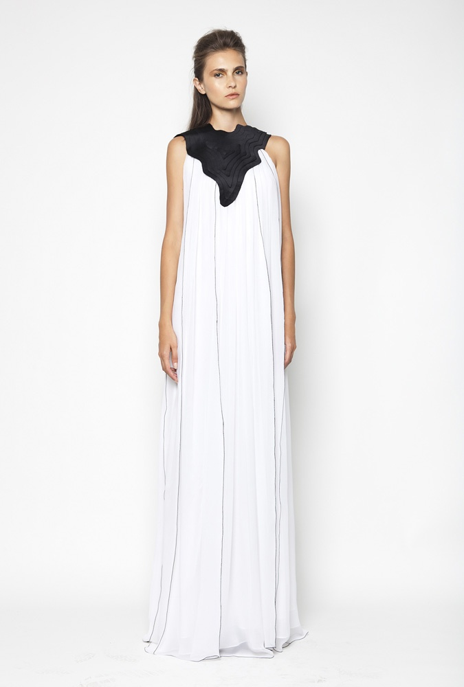 CHRISTOS COSTARELLOS SS12 Silk Chiffon Maxi Dress With Handmade Layered Teqnique Around Neck