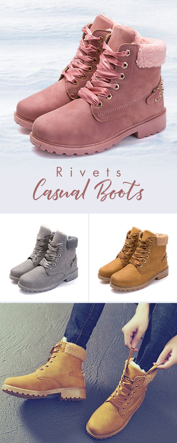 US$27.32 Rivets Solid British Style Warm Boots