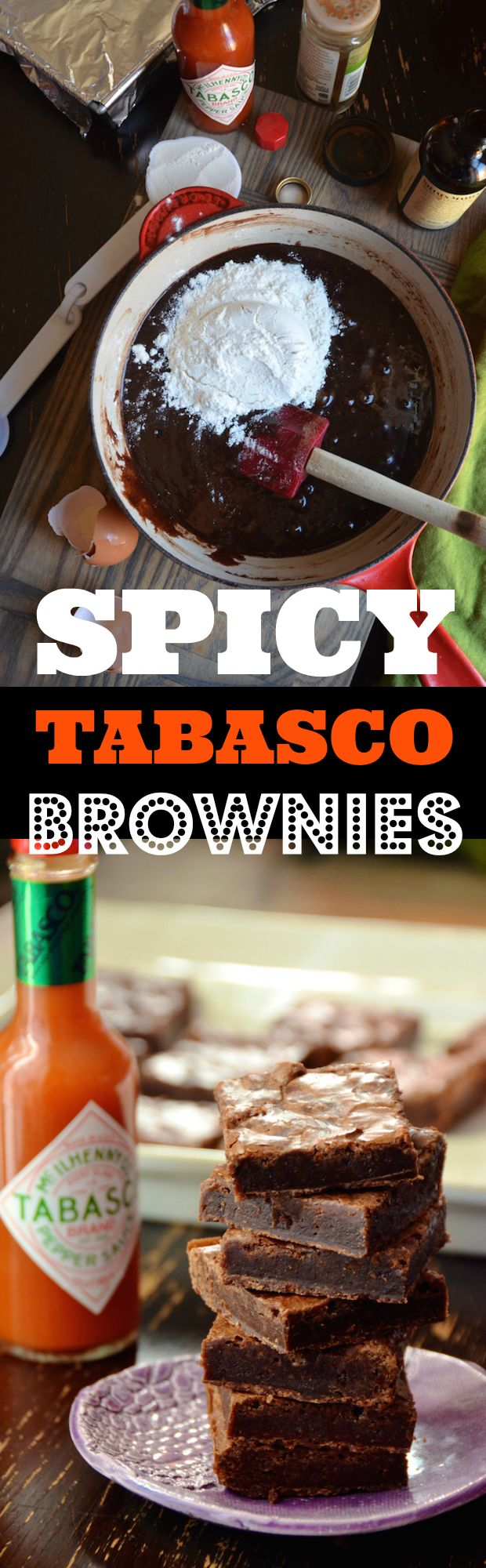 This is the perfect fudgy brownie recipe made even better with a dash of spicy Tabasco hot sauce. Sounds crazy, but it works SO well. It's a simple one bowl brownie recipe, but the spice makes it perfect to serve at parties. Try this at a BBQ, a summer cookout or a Cinco de Mayo party.