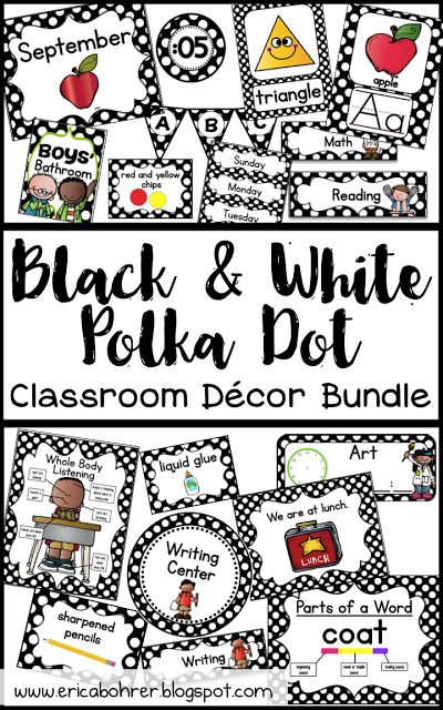 Black and White Polka Dot Classroom Decor Bundle