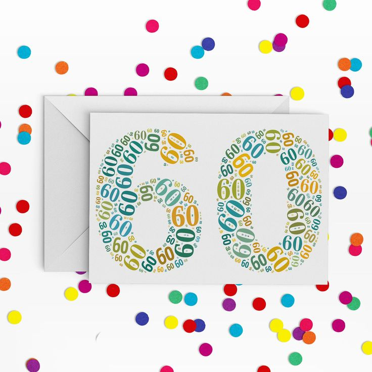 60 Birthday Card,  Number sixty Card, 60th Birthday, Happy Birthday Card, 60th Birthday Card, just a card, milestone birthday by PepperDoodles on Etsy