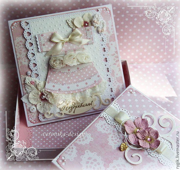 Купить Открытка в коробочке для новорожденной принцессы - бледно-розовый, нежно-розовый, для девочки
