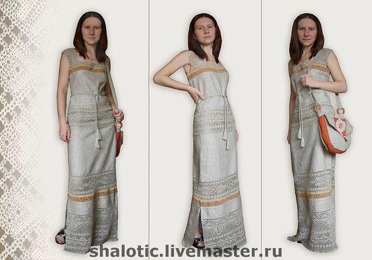 Льняной костюм, льняное платье в русском стиле, авторское платье, платье с кружевом, автор Юлия Льняная сказка