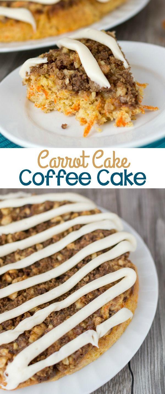 Carrot Cake Cake van de koffie is de perfecte lente ontbijt of brunch recept!  Mijn favoriete koffie taart ooit en het heeft roomkaas glazuur!