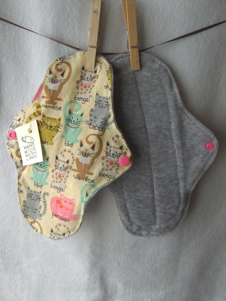 cloth pad mama sanitary napkin, crazy cats 9 in. $10.50, via Etsy.