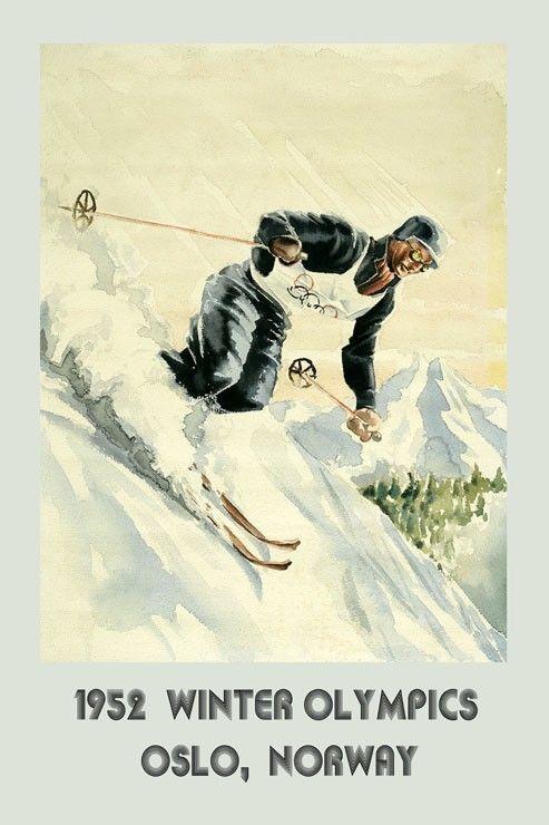 952 Ski Winter Sport Olympics Oslo Norway skiing Vintage Poster