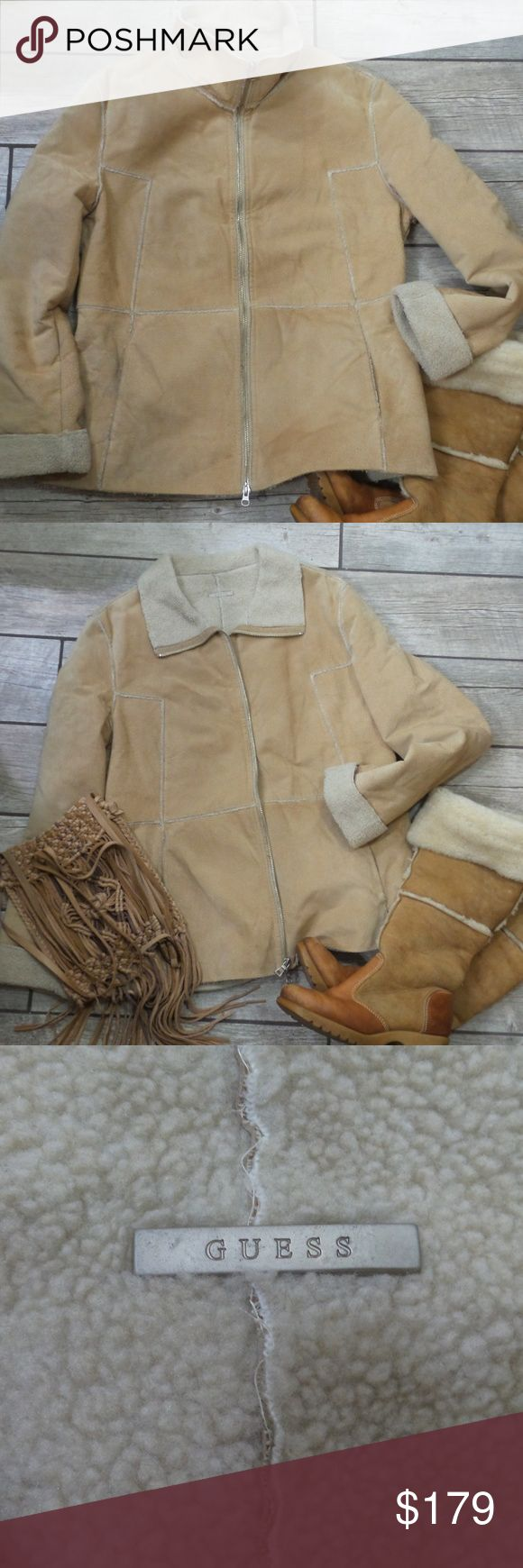 """Guess Leather & Faux Sherpa Lined Coat Gently used genuine leather and faux sherpa coat in size Large.  21"""" across chest and 26"""" from shoulders to hemline. Guess Jackets & Coats"""