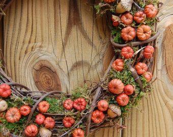 Fall Wreath / Rustic Dried Floral / Autumn Pumpkin Wreath  / Putka Pods / Mini Pumpkins