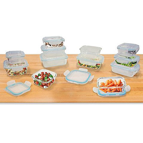 Cook, serve and store food using this 24-Piece Glass Food Storage Set with Easy Snap Lids. These durable glass containers withstand extreme temperatures for use in the oven, microwave, fridge and freezer. The easy snap lids lock in freshness when stored.