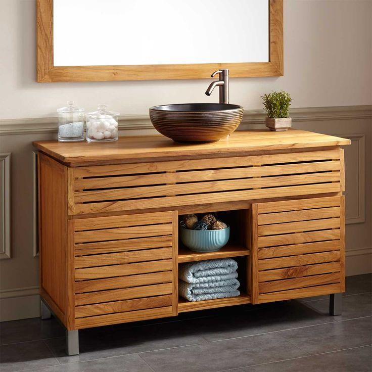 48 caldwell teak vessel sink vanity bathroom vanities for Caldwell kitchen cabinets