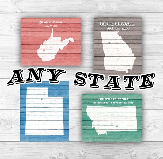 Any State Map Print. Personalized State Map Faux by DigitalArtLand