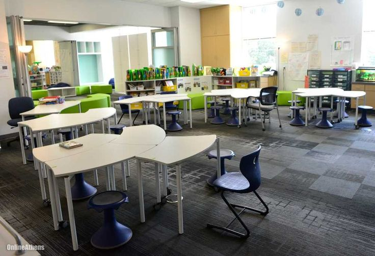 The Modern Classroom ~ Instead of neat rows desks classrooms have clusters
