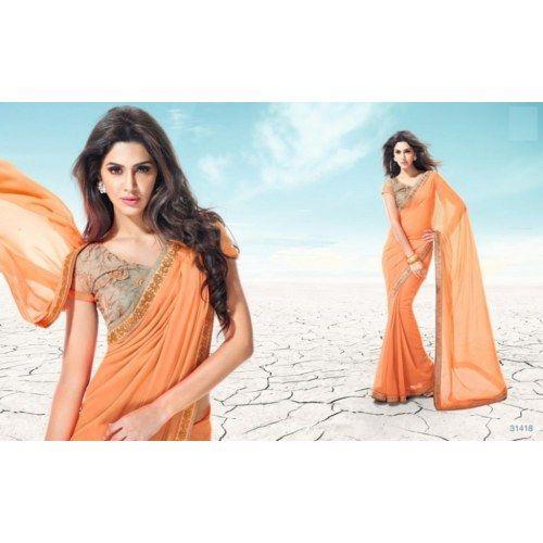 R rajkumar actresses orange color chiffon sarees - Bollywood Sarees by MIA