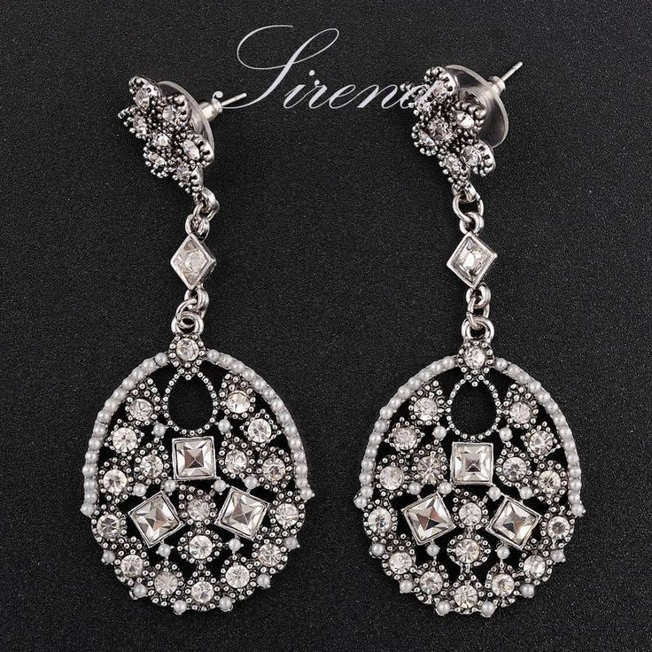 EC049 EC050 Luxury Vintage Silver Color Gold Color Chandelier Dangle Drop Big CZ Crystal Rhinestone Bridal Earrings Jewelry