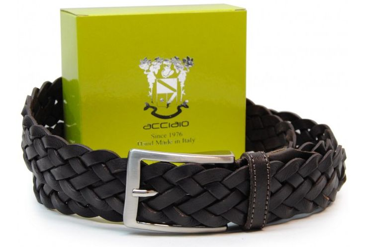 Flechtgürtel weich hochwertiges Rindleder DunkelBraun von designer Acciaio Alessandro   made in Italy