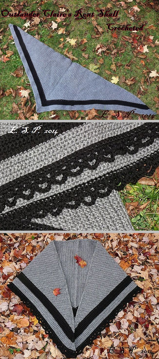 Outlander Claire's Rent Shawl, free pattern by E. S. Paul ~ Two triangles slip-stitched in the middle, with black & another gray section added to edge.  Worked in all SC with H hook.  Finish with lacy border.   . . . .   ღTrish W ~ http://www.pinterest.com/trishw/  . . . .   #crochet