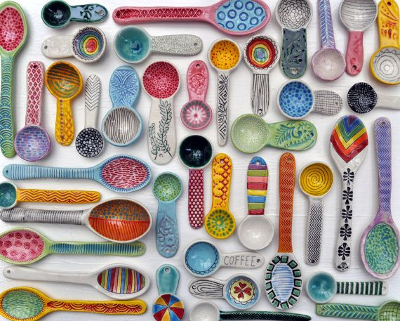 Collection of pottery spoons