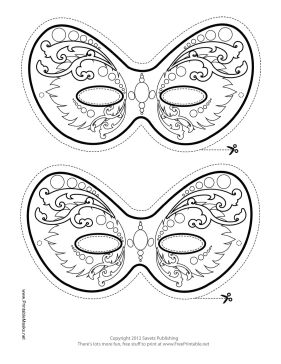 Ornate Mardi Gras Mask to Color Printable Mask, free to download and print