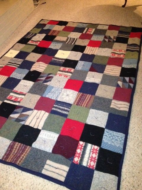 Crafts From Old Sweaters | quilt made from up-cycled wool sweaters | Crafts--Recycle Old Sweaters