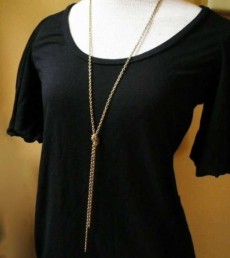 Long Gold Knot Chain Necklace in Raw Brass - Long Gold Necklace, Simple Everyday Jewelry. $19.00, via Etsy.