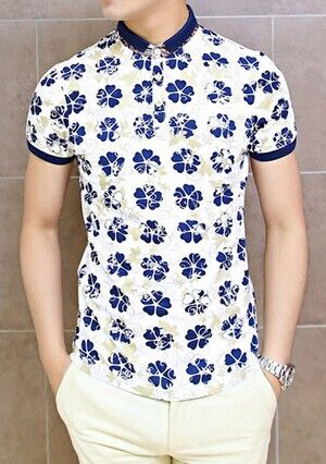 Fashion Style Turn-down Collar Slimming Floral Print Color Block Splicing Short…