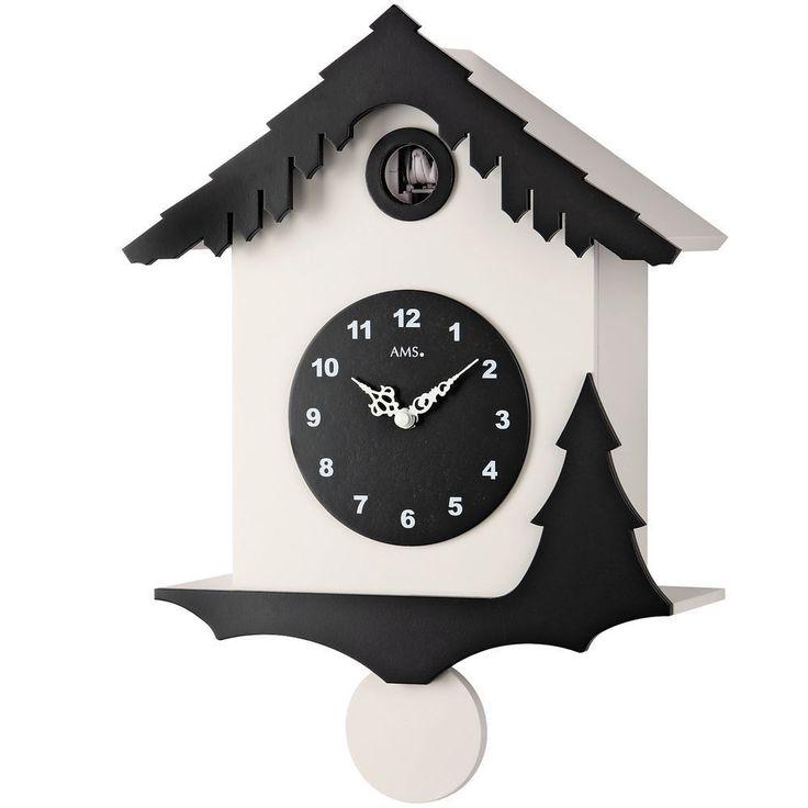 AMS 7391 Kuckucksuhr Quarz Pendel, Holzgehäuse weiß und schwarz lackiert