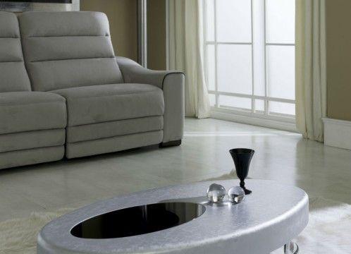 Mesa centro ovalada lacado plata