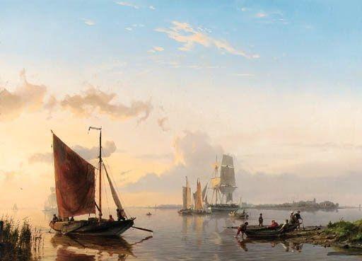 Hermanus Koekkoek - Zeilboten op de Schelde 1850