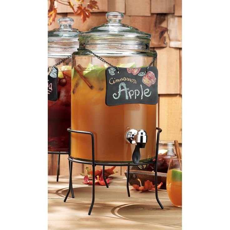 Home Essentials Del Sol 1.5 Gal. Chalkboard Dispenser on Stand, Clear