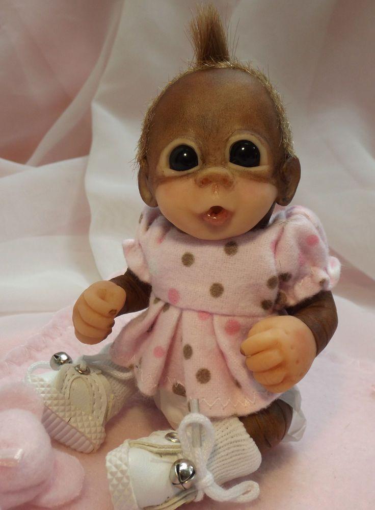 OOAK Baby Orangutan Monkey Girl Sculpted Polymer Clay Art Doll  Poseable Mini #BreathofHeaven