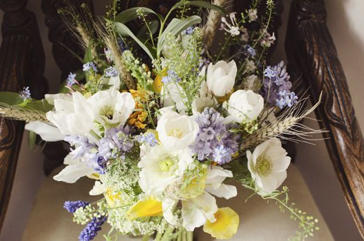 Bridal bouquet (forget-me-not flowers, bluebells, yellow irises, tulips, narcissi, solomon's seal, cow parsley, rosemary, muscari, wheat) - rustic spring wedding - wedding bouquets - bridal bouquets - wedding flowers - wedding flowers ideas #rusticweddinginspiration