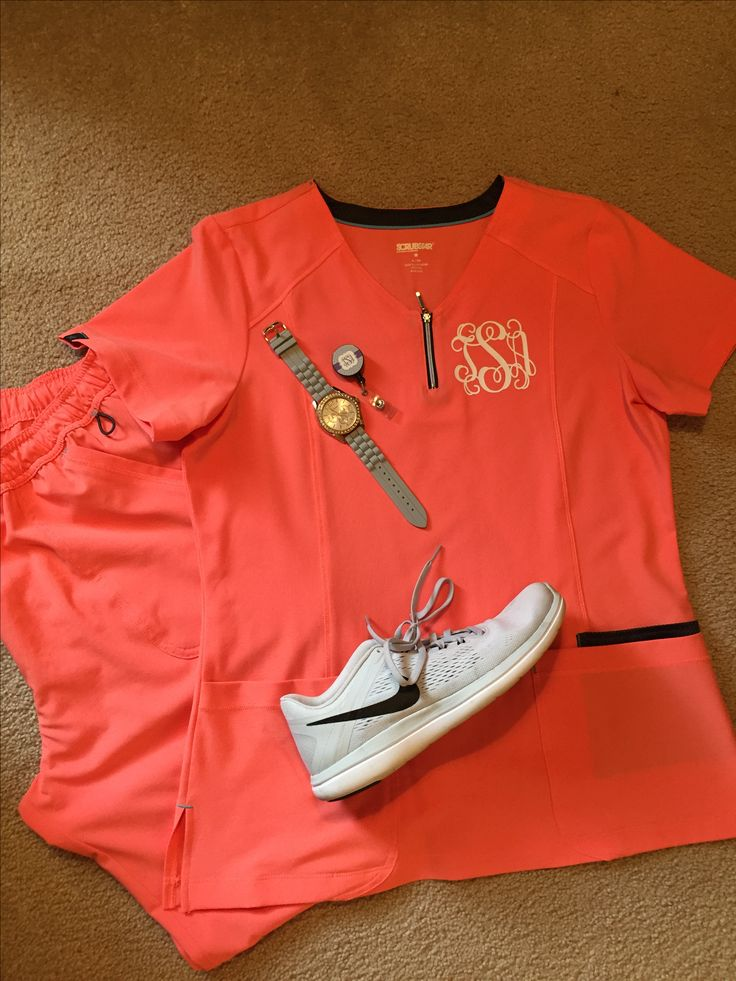 Coral and gray monogrammed scrubs