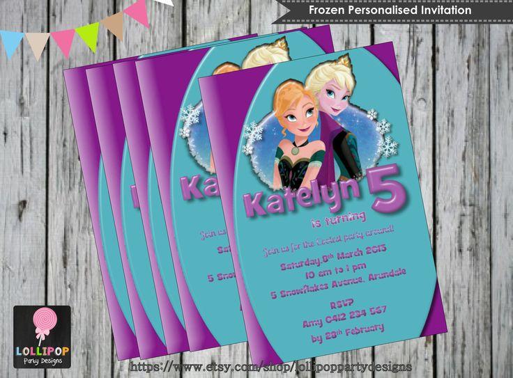 FROZEN INVITATION - Personalised - Printable - Invites - Digital Print - DIY - Birthday Party Invitation - Digital Download File - Elsa Anna by LollipopPartySupplies