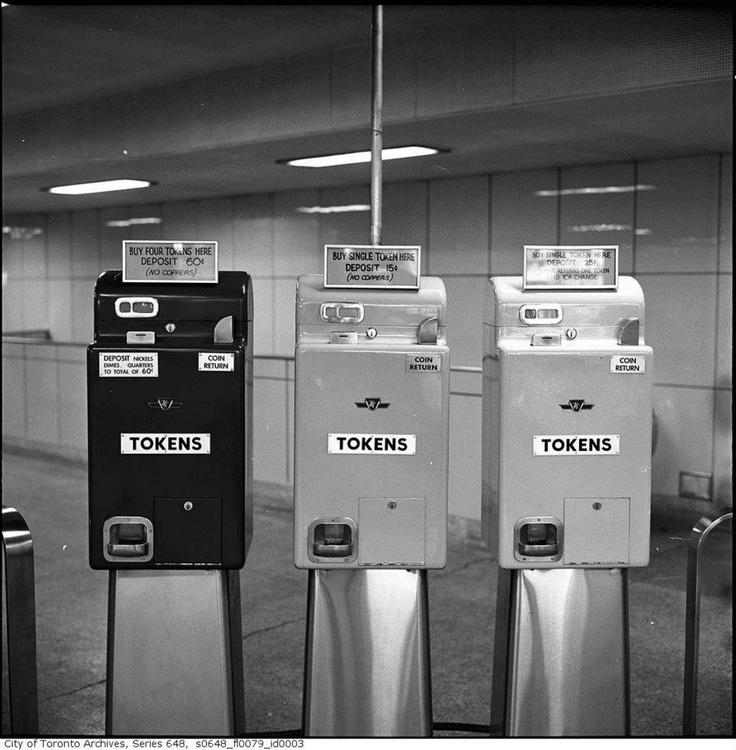 Toronto Transit Commission token dispensing machines, circa 1961.