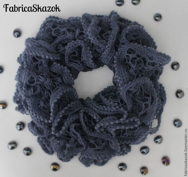 Купить Шарф-снуд серый с рюшами - серый, однотонный, шарф-снуд, шарф вязаный