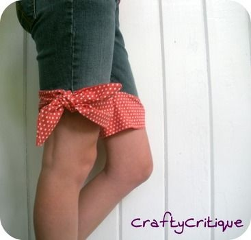 No hem shorts/capris made from recycled jeans/pants