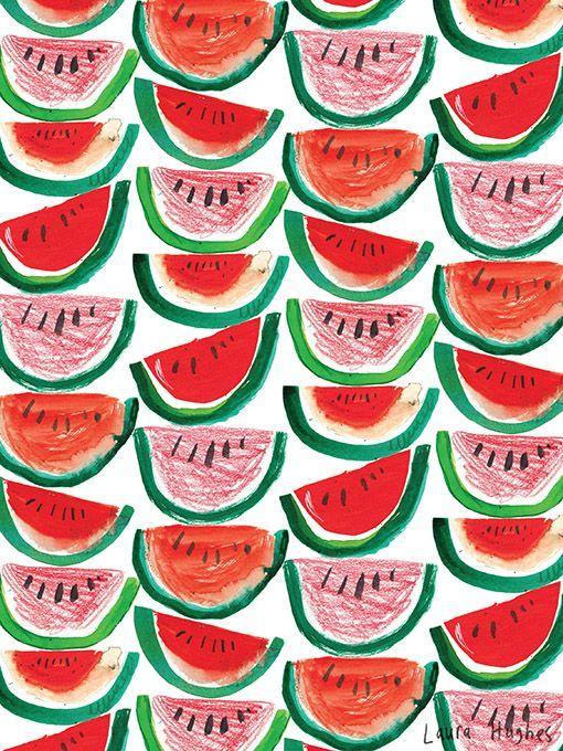 """#illustration by Laura Hughes #watermelon"""