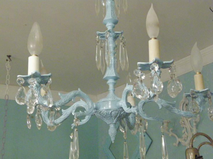 Shabby Chic Chandelier Vintage Crystal Aqua Light Baby Blue Bronze