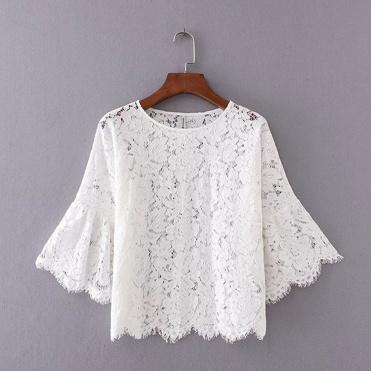 White Lace Blouse  Seven-point Sleeve Hollow Lace Shirt