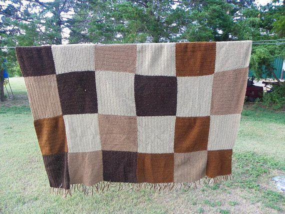 Vintage  Multi  Colors Brown Blocks Hand Crocheted Afghan
