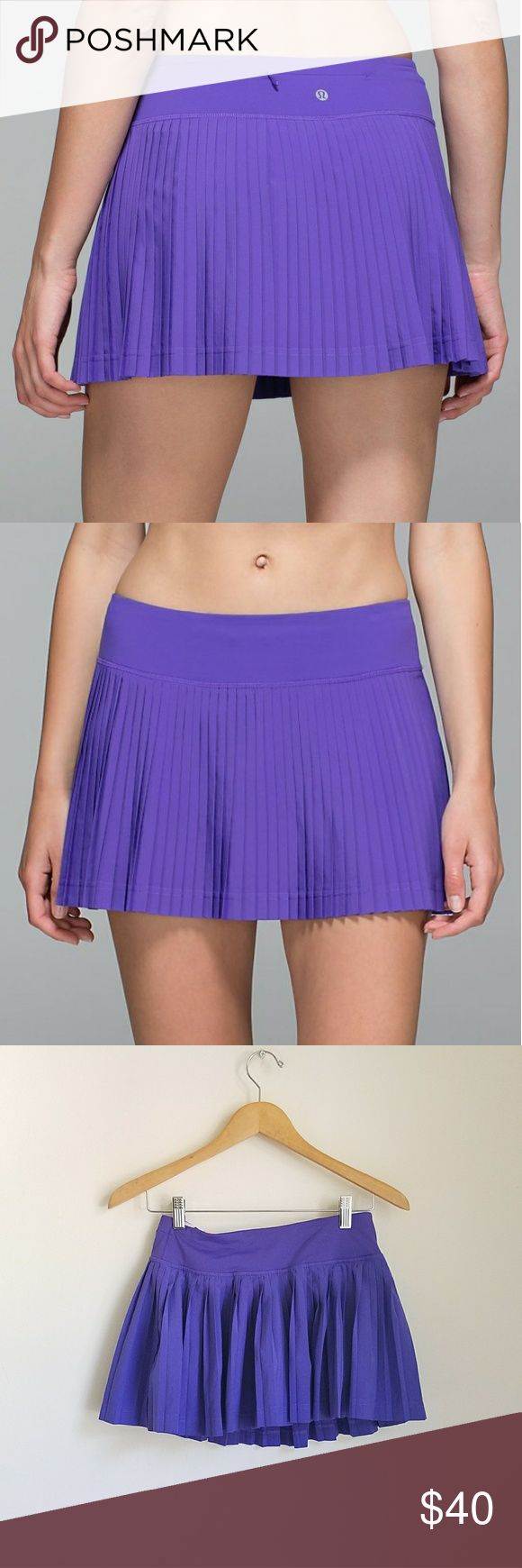 """Lululemon pleat to street running skort in violet Lululemon pleat to street running skirt. Purple combo. Size 4. Inbuilt shorts under.  Second skin fit, light weight, breathable and added Lycra  for stretch and comfort ♡   Measurements flat, without stretching:  Waist: 13"""" Lenght: 12""""   ● 20% off on bundles   Lulemon athletica skirt skort running runners sport gym attire clothes shorts lululemon athletica Shorts"""