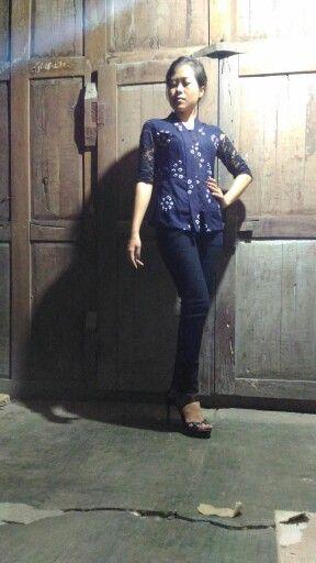 dark blue simple kebaya, can be formal or informal
