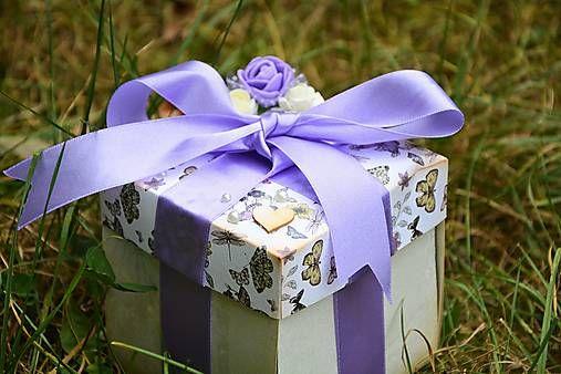 Svadobná krabička na peniaze - fialová - exploding box - wedding decoration, wedding gift, svadba, vintage
