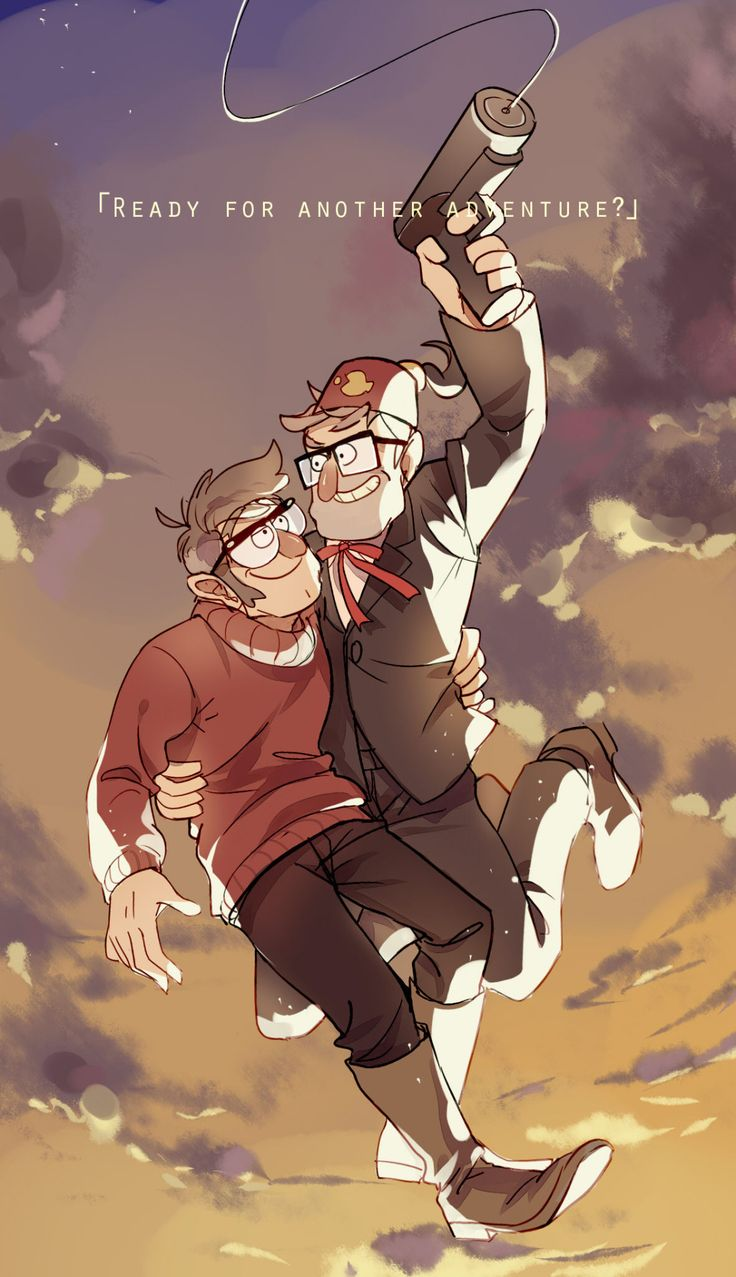 Ford and Stanley, off on another great adventure!  This is a redraw of a screenshot from the Gravity Falls final credits. I loved this scene; it was brief, but so adorable!  Shows how the Pines brothers have grown closer