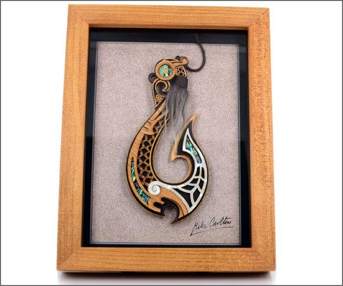 Framed Maori art, Maori fishhook.