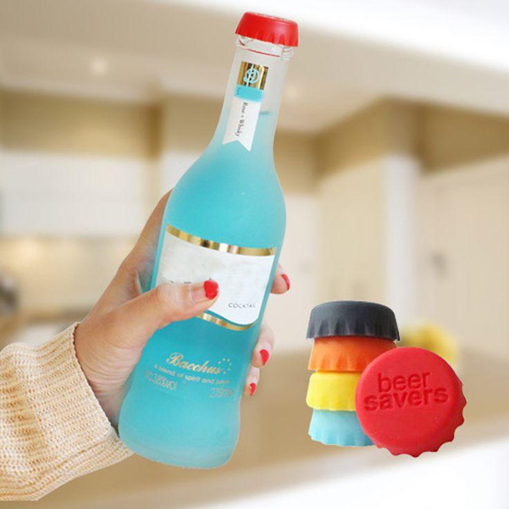 6 pcs/lot New Kitchen multicolor Silikon Tombol Beer Wine Cork Stopper Plug Botol Cap Sampul Sempurna Rumah Peralatan Dapur