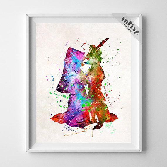 Robin Hood Poster, Robin Hood Art, Robin Hood Gift, Maid Marian Print, Watercolor Art, Childrens Room, Disney Poster, Wall Art. PRICES FROM $9.95. CLICK PHOTO FOR DETAILS.#inkistprints #watercolor #watercolour #giftforher #homedecor #wallart #walldecor #poster #print #christmas #christmasgift #weddinggift #nurserydecor #mothersdaygift #fathersdaygift #babygift #valentinesdaygift #painting #dorm #decor #livingroom #bedroom